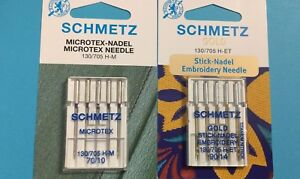 10 Schmetz Nadel Microtex Nadel für Seide, Microfasergewebe, Folien, Sticknadeln