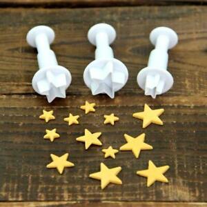 3pcs Mini Star Cake Fondant Decorating Mould Plunger DIY Cutter Cookie Biscuit
