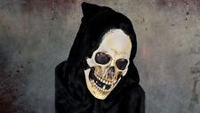 Adult Hooded Grim Skull Latex Mask Horror Fancy Dress Halloween Deluxe Party