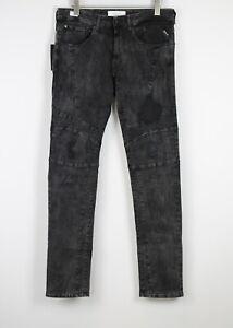 RRP€269 REPLAY ZALDOK MA905 Men W33/L30 Broken Edge Slim Fit Black Jeans 20809*