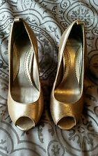 RIVER ISLAND LADIES cracked gold LEATHER PEEP TOES SHOES SIZE 4 UK 37 EU