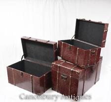 Set 3 FINTO RETTILE scatole bagagli custodie Steamer Bagagliaio tabelle