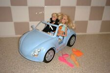 BARBIE CAR PLUS TWO BARBIE DOLLS DRESSED WITH SHOES BAGS & BRUSHES LOT 2