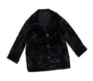 813400 New Black Sheared Mink Fur Sections Reversible Stroller Coat L