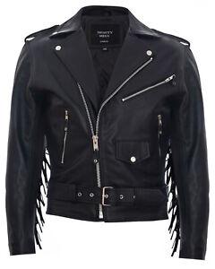 Mens FRINGE Hide Leather Brando TASSELED Motorcycle Jacket Retro Biker