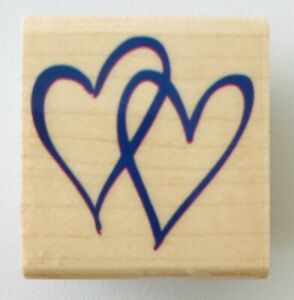 Double Hearts Rubber Stamp from Hampton Art 1.25 x 1.5 inches