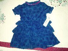Nwt Toddler Girls Osh Kosh Ruffled Layer Blue Heart Lace Dress 3T Victorian New