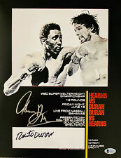 Tommy Hearns Roberto Duran Dual Signed 11 x 14 Photo Autographed Beckett BAS 8