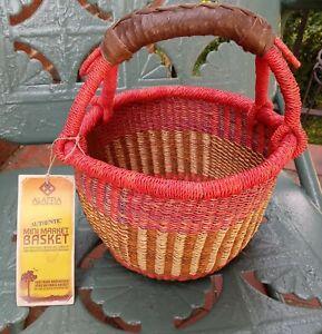 Alaffia Basket Mini Market Ghana West Africa Handmade Red Woven Grass