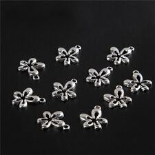 Flower Tibetan Silver Bead charms Pendants fit bracelet 10pcs 15*17mm