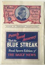1928 Chicago White Sox Vs New York Yankees Baseball Program, Ruth, Gehrig