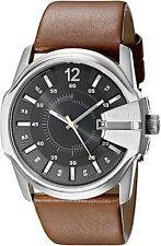 Diesel Men's DZ1617 Master Chief Black Dial Brown Leather Watch