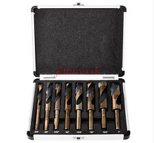 """8PC HSS Cobalt Silver & Deming Drill Bits Set 9/16"""" to 1"""" Reduced 1/2"""" Shank"""