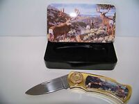 Collectors Lockback Knife with tin case Deer Pocket Wildlife Gift
