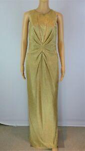 Issa gold long drape sleeveless evening dress size UK12/US8