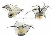 Mesh Net Flower Fascinator on Beak Clip Brooch Pin Ivory & Black Various Styles