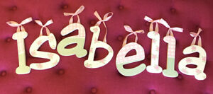 Hand Painted Wooden Letters ' Isabella ' w/ Pink Ribbon
