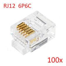 100pcs RJ12 6P6C Modular Plug Connector For RJ12 Telephone Cord