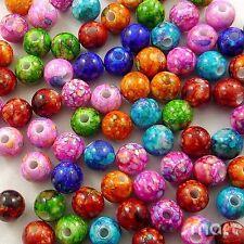 100pcs Mixed Colors Round Plastic Beads Lot Craft/Kids Jewelry Making 8MM