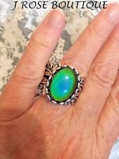 vintage RING Mood Stone Retro CHANGE COLOR JEWELRY 70'S ROCKABILLY MOONSTONE