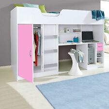 LIFESTYLE HIGH SLEEPER CABIN BED WHITE AND PINK R140W/P