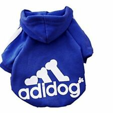 Pet Dog Clothes Soft Cotton Adidog Sweatshirt Sweater Hoodie Blue Size Small