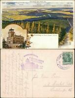Ansichtskarte Oberwiesenthal 2 Bild Fichtelberg und Stadt 1909