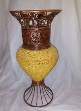 "Decorative Floor Vase 24"" Tall Basket Weave Rattan/ Metal Urn Home Office Decor"