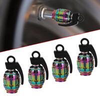 4x Universal Neo-Chrome Grenade Car Wheel Tyre Valve Metal Dust Caps Accessories