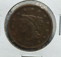 1841 Braided Classic Liberty Head US Large Cent 1c Choice VF Very Fine Circ