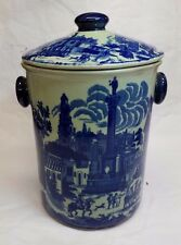 "Victoria Ware Ironstone Flow Blue Ice Bucket or Cookie Jar 13"" tall x 8-1/2"" dia"