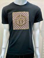 New Men Laverita Short Sleeve Very Slim Fit T-Shirt Black Shiny Gold Brown U