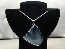 925er Silberkette, Achat, Edelstein, Blau-Grün-milchig, Heilstein,Silberrand,neu
