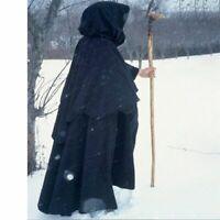 Velvet Hooded Cloak Gothic Vampire Wicca Robe Medieval Larp Cape Unisex Adult