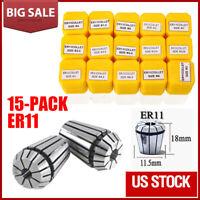 "New 15Pcs ER11 Spring Collet Set 1/16""-3/4"" CNC Super Precision Milling tool"