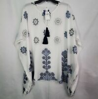 J. Jill One Size Poncho Tunic Top Beach Swim Cover Up Floral White Blue NEW