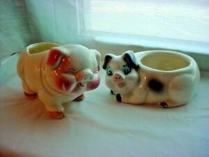 Vtg Pig Planter Ceramic Piggy Vases 2 Piece Lot