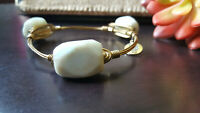 Authentic Bourbon And Boweties Bangle Bracelet 3 Marble Charms Hand Wrapped