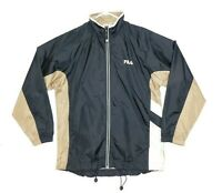 Vintage 90s FILA Windbreaker Men Size Medium Black Beige White Track Jacket EUC