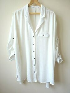 Ex Evans White Lapel Collar Button Up Front Relaxed Shirt/Blouse Plus Size 26-32