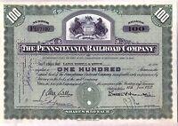 Pennsylvania Railroad Company Stock Certificate Green State Seal
