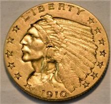 1910 $2.50 Gold Indian Quarter Eagle, Higher Grade 2 and 1/2 Type Coin