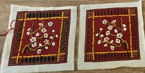 Handmade Needlepoint pillow covers almost finished throw Asian cherry blossom