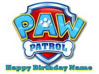PAW PATROL LOGO EDIBLE CAKE TOPPER ICING SUGAR SHEET CUPCAKES PARTY DECORATIONS