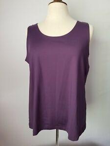 CHICO'S Purple Plum Stretch Nylon Tank Shell Cami Pullover Top Size 3 (XL) EUC