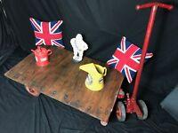 Industrial Vintage Railway Trolley Oak Iron Plank Top Coffee Table On Wheels