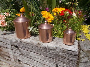 Lovely Set 3 Vintage Copper Lined Kitchen Storage Canisters YR1/2