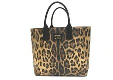 AUTHENTIC DOLCE&GABBANA D&G Logo Plate Leopard Large Tote Bag