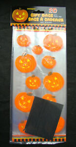 20 x HALLOWEEN Clear Pumpkin Loot bags treat bags Party bags trick or treat