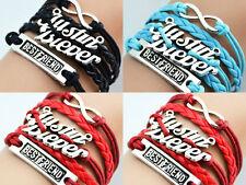 3 X RED BLACK BLUE Infinity Justin bieber JB girls Leather Charm Bracelet